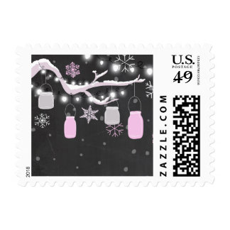 Winter Mason jars Postage Stamps Snowflakes Pink