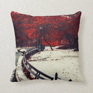 Winter Meets Fall in Central Park, NYC Throw Pillows