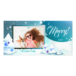 Winter Merriment Cute Holiday Photo Card