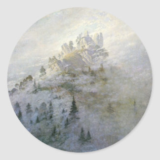 Winter Mist on the Mountains 1808 Classic Round Sticker
