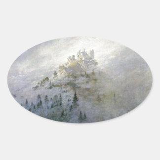 Winter Mist on the Mountains 1808 Oval Sticker