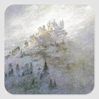Winter Mist on the Mountains 1808 Square Sticker