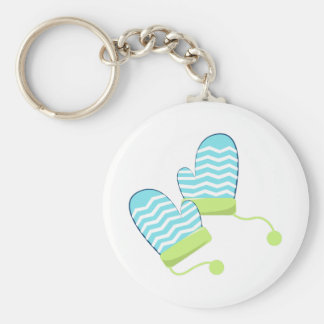 Winter Mittens Basic Round Button Keychain
