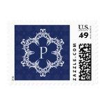Winter Monogram P Postage Stamp in Navy