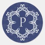 Winter Monogram P Sticker in Navy