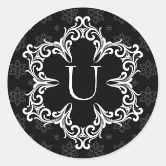 Winter Monogram U Sticker in B&W
