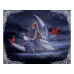 Winter Moon Angel Print