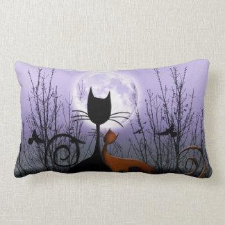 Winter Moon & Cats In Love Lumbar Pillow