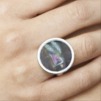 Winter Moon Fairy Round Silver Ring