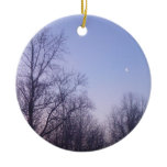 Winter Moon Morning Nature Landscape Photography Ceramic Ornament