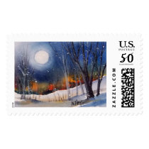 WINTER MOON POSTAGE STAMP