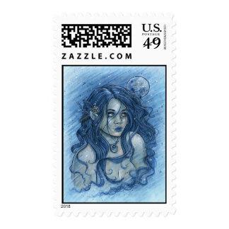 Winter Moon Postage Stamp