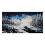 Winter Moon snow scene canvas painting for sale Print