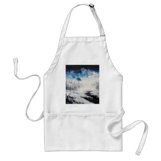 Winter Moon snow scene on customizable products Adult Apron