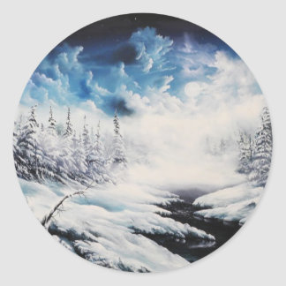 Winter Moon snow scene on customizable products Classic Round Sticker