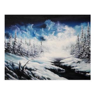 Winter Moon snow scene on customizable products Postcard