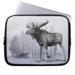 Winter Moose Laptop Computer Sleeve