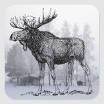 Winter Moose Square Sticker