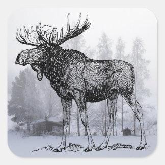 Winter Moose Sticker