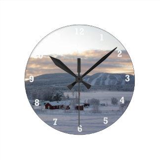 Winter Morning #1 Round Clock