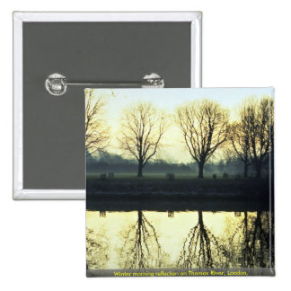 Winter morning reflection on Thames River, London, Pinback Buttons