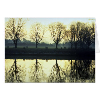 Winter morning reflection on Thames River, London, Card