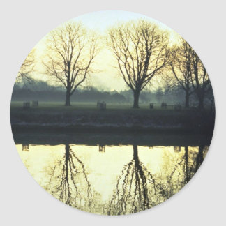 Winter morning reflection on Thames River, London, Round Sticker