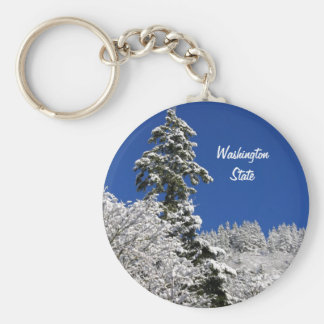 Winter Mountain Arlington Washington State Keychain