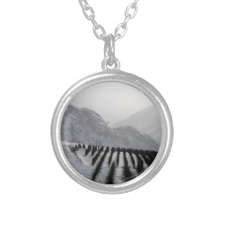 Winter Mountain Orchards Round Pendant Necklace