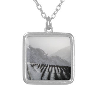 Winter Mountain Orchards Square Pendant Necklace