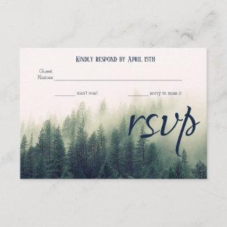 Winter Mountain Pines Wedding RSVP Card