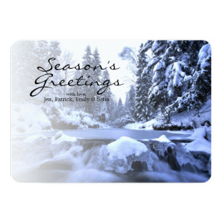 Winter mountain river- Beskid Mountains, Poland Card