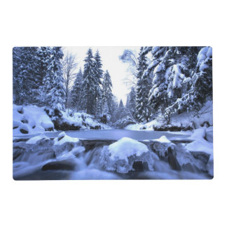 Winter mountain river- Beskid Mountains, Poland Laminated Placemat