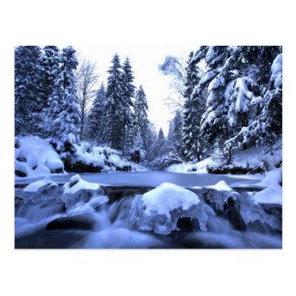 Winter mountain river- Beskid Mountains, Poland Postcard