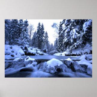 Winter mountain river- Beskid Mountains, Poland Poster
