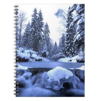 Winter mountain river- Beskid Mountains, Poland Spiral Notebook