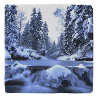 Winter mountain river- Beskid Mountains, Poland Trivet