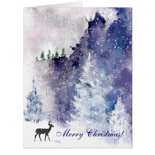 Winter Mountain Scene Christmas Greeting Card