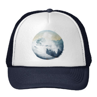 Winter Mountain Ski Slope Circle Trucker Hat