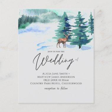 Winter Mountain Wedding Pine Trees Stag Handritten
