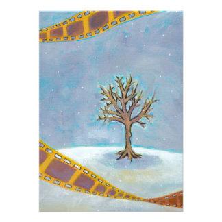 Winter movie unique film art original painting personalized invitations