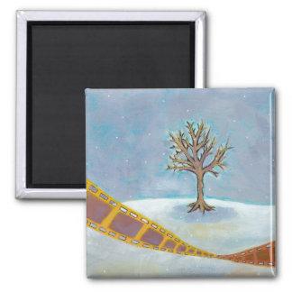 Winter movie unique film art original painting 2 inch square magnet