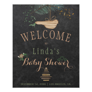 Winter nature chalkboard watercolor baby shower poster