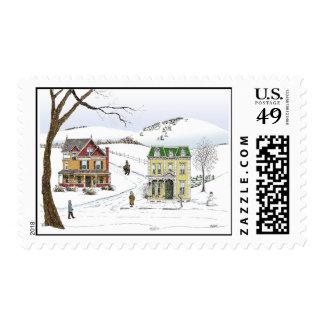 Winter Neighborhood Postage Stamps