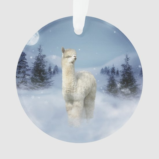 Winter Night Alpaca Christmas Ornament