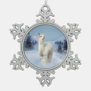 Winter Night Alpaca Pewter Snowflake Ornament at Zazzle