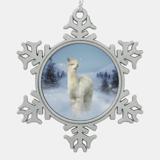 Winter Night Alpaca Pewter Snowflake Ornament | Zazzle.com