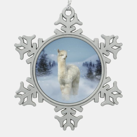 Winter Night Alpaca Pewter Snowflake Ornament
