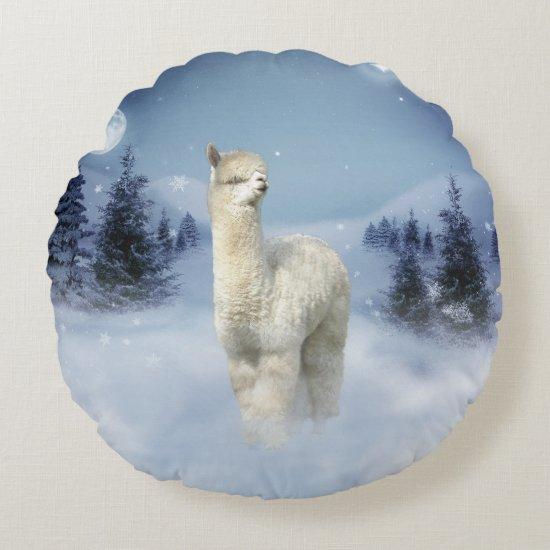 Winter Night Alpaca Round Pillow