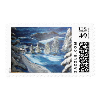Winter Night Blue Postage